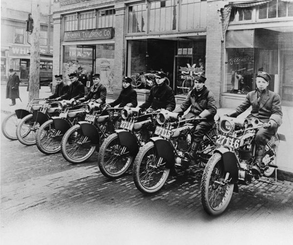 Merchants Parcel Delivery motorcycles first mechanized form of delivery vehicles used in 1916.