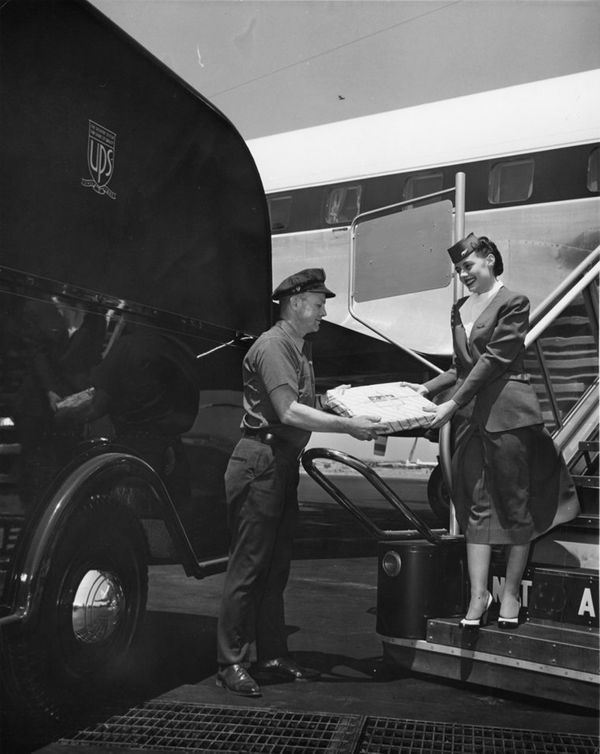 UPS restarted air service in 1953 using space on passenger planes.