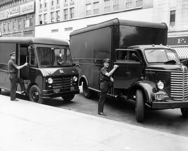 Package car and furniture delivery truck circa 1956.