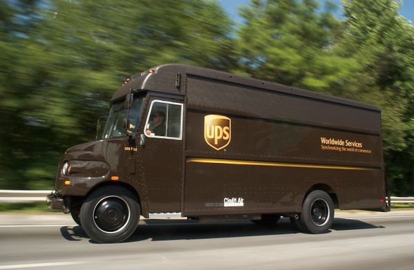 Classic UPS bubble front delivery vehicle. This copyrighted style was first developed in 1965.