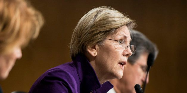 Senator Elizabeth Warren (D-MA) speaks during a hearing of the Senate Banking, Housing and Urban Affairs Committee on Capitol