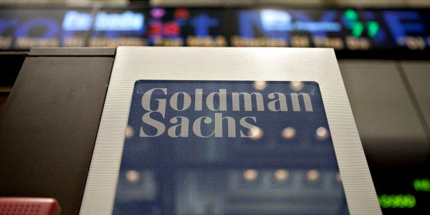 A Goldman Sachs Group Inc. logo hangs on the floor of the New York Stock Exchange in New York, U.S., on Wednesday, May 19, 20