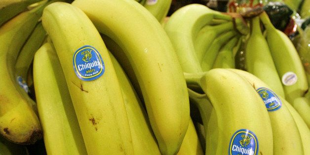 **FILE** Chiquita bananas are piled on display at the Heinen's grocery store in Bainbridge, Ohio in this Aug. 3, 2005 file ph