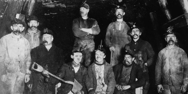 UNITED STATES - CIRCA 1912:  Coal Miners Live with the Black dust that drives America's' steam engines and the Industrial Rev