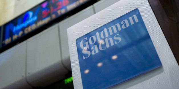 Goldman Sachs Group Inc. signage is displayed on the floor of the New York Stock Exchange in New York, U.S., on Thursday, Jun