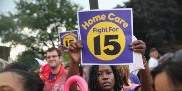 CHICAGO, IL - SEPTEMBER 04:  Demonstrators protest for an increase in wages for fast food and home care workers during the mo