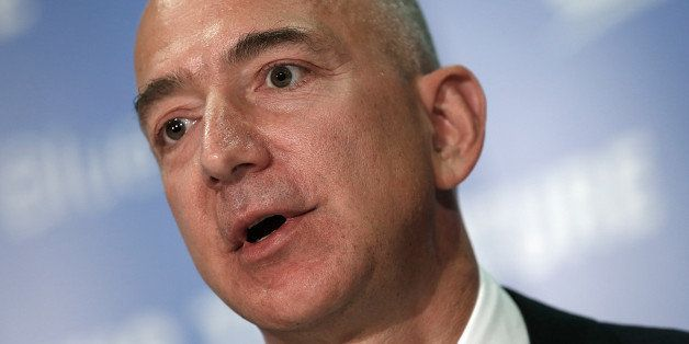 WASHINGTON, DC - SEPTEMBER 17:  Jeff Bezos, the founder of Blue Origin and Amazon.com, speaks at a press conference to announ