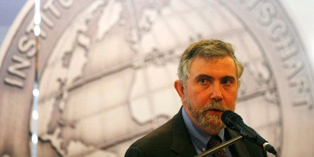 US Nobel Prize of Economy winner Paul Krugman delivers his speech after he was awarded with the Global Economy Prize 2010 of