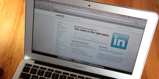 SAN ANSELMO, CA - JANUARY 27:  In this photo illustration, the LinkedIn logo is displayed on the screen of a laptop computer