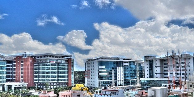 This is Bagmane Tech Park, Bangalore. The view is from the terrace of my apartment. My first attempt at HDR. Not sure whether
