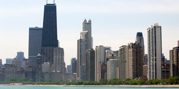 CHICAGO, IL - JUNE 12: The skyline of the city rises from Lake Michigan as seen from North Avenue Beach, on June 12, 2014 in
