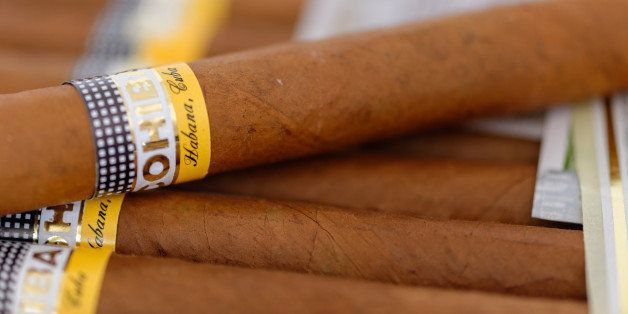 CUBA - 2014/09/28: Esplendid Cohiba cigars. Cohiba is a brand for two kinds of premium cigar: Esplendido and Robusto. The name cohíba derives from the Taíno word for 'tobacco.'. (Photo by Roberto Machado Noa/LightRocket via Getty Images)