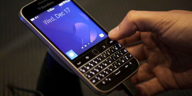 The BlackBerry Ltd. Classic smartphone is displayed during an event in New York, U.S., on Wednesday, Dec. 17, 2014. BlackBerr