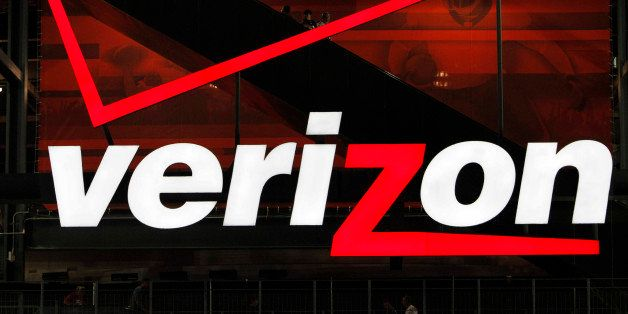FILE - In file photo taken Aug. 21, 2010, a Verizon sign is shown at New Meadowlands Stadium in East Rutherford, N.J. On Tues