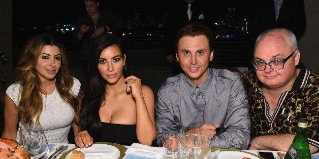 MIAMI, FL - DECEMBER 04:  (L-R) Larsa Pippen and Kim Kardashian, Jonathan Cheban and Mickey Boardman attend Paper Magazine, S
