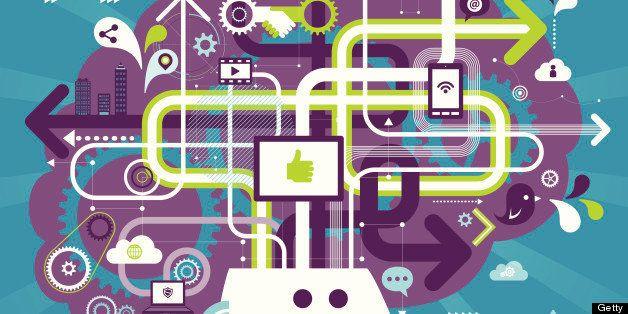 Vector illustration - Social Media Brain