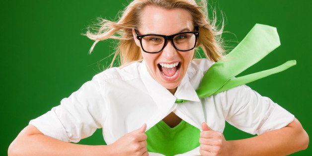 green superhero businesswoman...