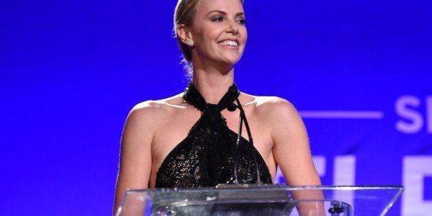 "Charlize Theron speaks on stage at Sean Penn And Friends ""Help Haiti Home"" Gala - Show at the Monta"