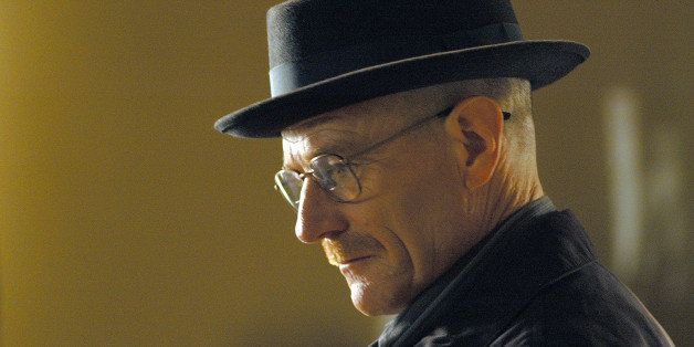 This image released by AMC shows Walter White, played by Bryan Cranston, wearing a Bollman 1940's pork pie hat in a scene f