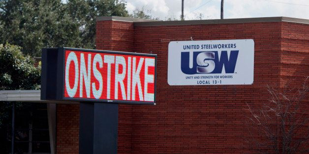 A sign reading 'On Strike' is seen outside of the United Steelworkers (USW) offices in Texas City, Texas, U.S., on Monday, Fe