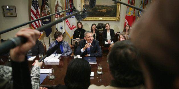 WASHINGTON, DC - FEBRUARY 03:  U.S. President Barack Obama (C) speaks as Secretary of Health and Human Services Sylvia Burwel