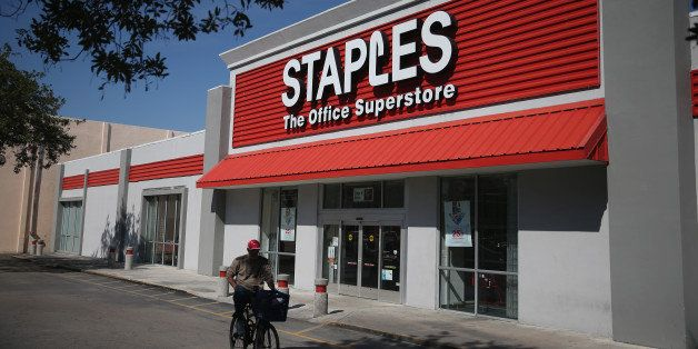 MIAMI, FL - FEBRUARY 03:  The sign logo for a Staples store is seen on February 3, 2015 in Miami, Florida. Reports indicate t