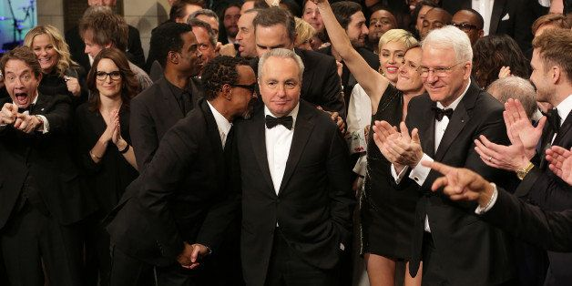 SATURDAY NIGHT LIVE 40TH ANNIVERSARY SPECIAL -- Pictured: (l-r) Martin Short, Tina Fey, Chris Rock, tim Meadows, Lorne Michaels, Miley Cyrus, Molly Shannon, Steve Martin during the Goodnights & Credits on February 15, 2015 -- (Photo by: Chris Haston/NBC/NBCU Photo Bank via Getty Images)