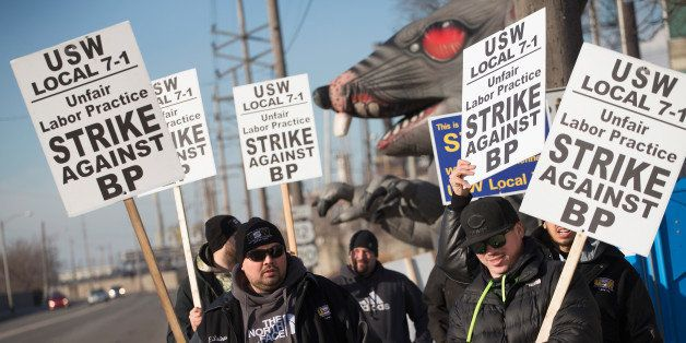 WHITING, IN - FEBRUARY 10:  Members of the United Steelworkers Union and other supporting unions picket outside the BP refine