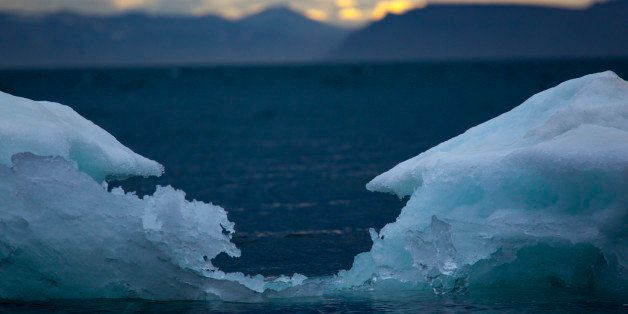 Close-up of an iceberg in a fjord of the Spitzbergen Island.