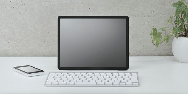 Digital tablet with empty 'screen'.Keyboard with wireless connection,smartphone