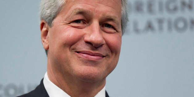 Jamie Dimon, chief executive officer of JPMorgan Chase & Co., smiles during a discussion at the Council on Foreign Relations