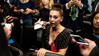 Actress Alyssa Milano is seen ahead of a Senate Judiciary Committee hearing of Dr. Christine Blasey Ford at the Capitol Hill in Washington, U.S., September 27, 2018. Erin Schaff/Pool via REUTERS