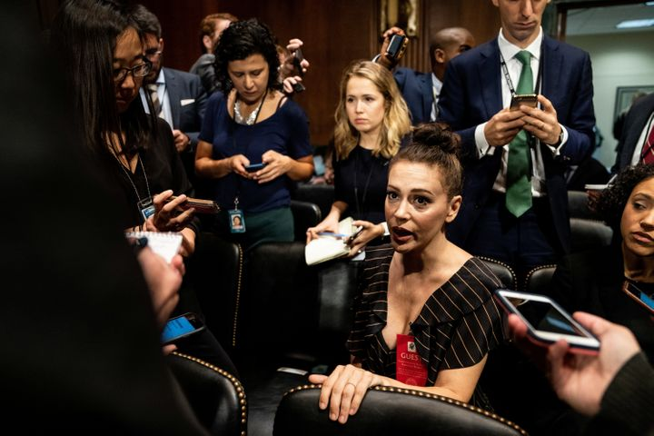 Actress Alyssa Milano is seen ahead of a Senate Judiciary Committee hearing of Dr. Christine Blasey Ford at Capitol Hill in W