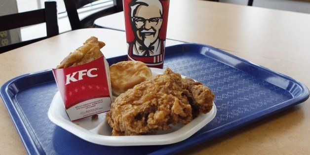 A fried chicken meal is seen at a KFC restaurant in Somerville, Mass., Tuesday, July 14, 2009. Yum! Brands, the operator of P