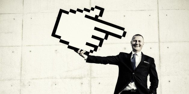 Businessman pointing at himself with hand cursor pointer. Workforce concept.