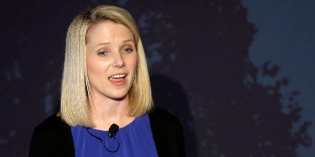 Yahoo CEO Marissa Mayer speaks during a news conference Monday, May 20, 2013, in New York. Yahoo edged up 31 cents, or 1.2 pe