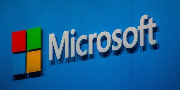 BARCELONA, SPAIN - MARCH 03:  A logo sits outside the Microsoft pavilion during the second day of the Mobile World Congress 2