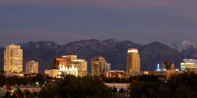 Mountains frame the skyline of Salt Lake City, Utah, U.S., on on Wednesday, Oct. 12, 2011. Dallin H. Oaks, a member of the go