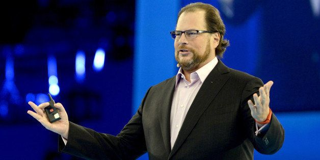SAN FRANCISCO, CA - OCTOBER 14: Marc Benioff delivers the keynote speech at Salesforce.com's Dreamforce 2014 Conference at Moscone South on October 14, 2014 in San Francisco, California. (Photo by Tim Mosenfelder/Getty Images)