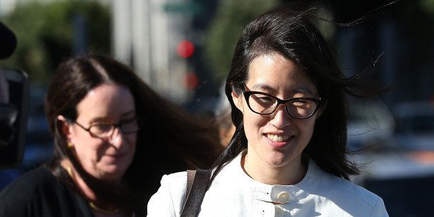 SAN FRANCISCO, CA - MARCH 27:  Ellen Pao (R) leaves the San Francisco Superior Court Civic Center Courthouse with her attorne
