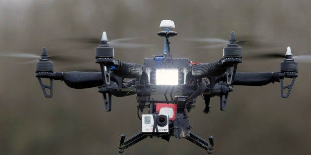 """FILE - In this Monday Feb. 9, 2015 file photo, French company Malou Tech's  """"Army"""" speed drone mounted with a Go pro Hero3 pe"""