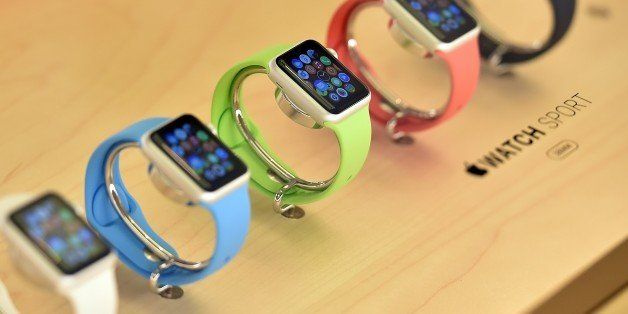 New Apple Watches are seen on display in an Apple store in Sydney on April 10, 2015. Apple started taking orders from custome