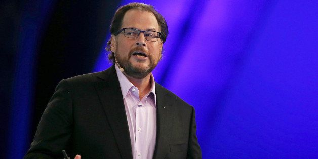 SAN FRANCISCO, CA - OCTOBER 14:  Salesforce CEO Marc Benioff delivers a keynote address during the 2014 DreamForce conference