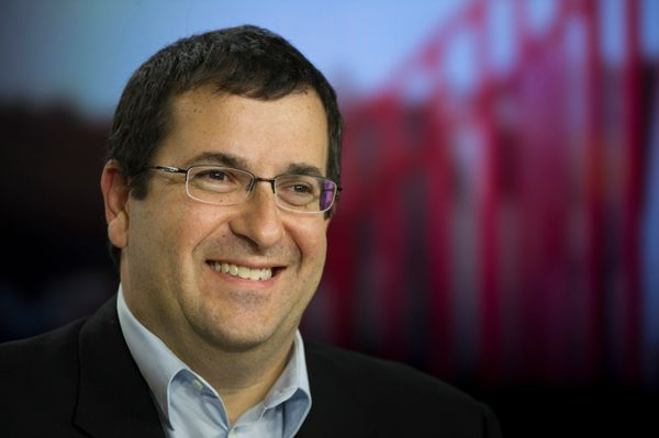David 'Dave' Goldberg, chief executive officer of SurveyMonkey.com LLC, smiles during a Bloomberg West Television interview i