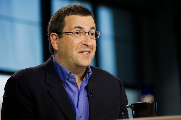 David 'Dave' Goldberg, chief executive officer of SurveyMonkey.com LLC, speaks during a Bloomberg West Television interview i