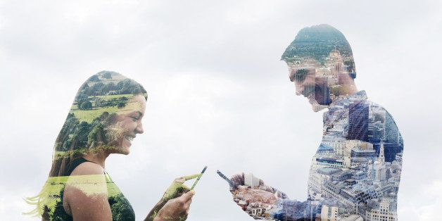 Double exposure of a man and woman using smart phones in different locations. One in the countryside and one in the city.