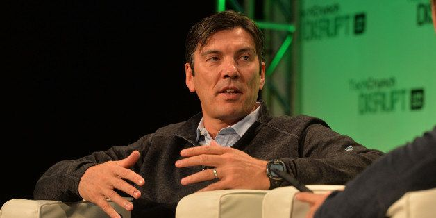 LONDON, ENGLAND - OCTOBER 20: Tim Armstrong, CEO of AOL, on stage during the 2014 TechCrunch Disrupt Europe/London at The Old