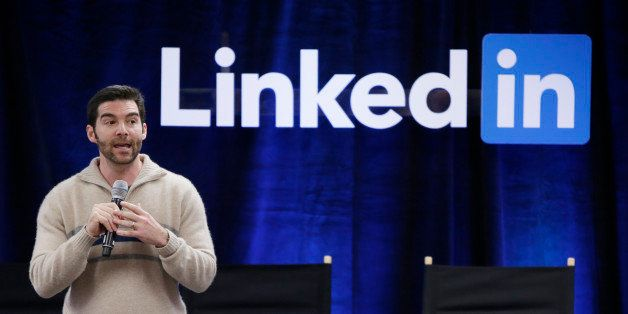 """FILE - In this Nov. 6, 2014 file photo, LinkedIn CEO Jeff Weiner speaks during the company's second annual """"Bring In Your Par"""