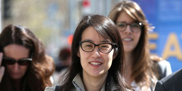 SAN FRANCISCO, CA - MARCH 25:  Ellen Pao leaves the San Francisco Superior Court Civic Center Courthouse with her legal team
