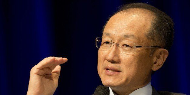 President of the World Bank Group, Jim Young Kim speaks during a meeting for 'Universal Financial Access 2020' at the IMF/WB